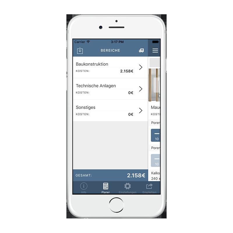 CORES App - Planbereiche