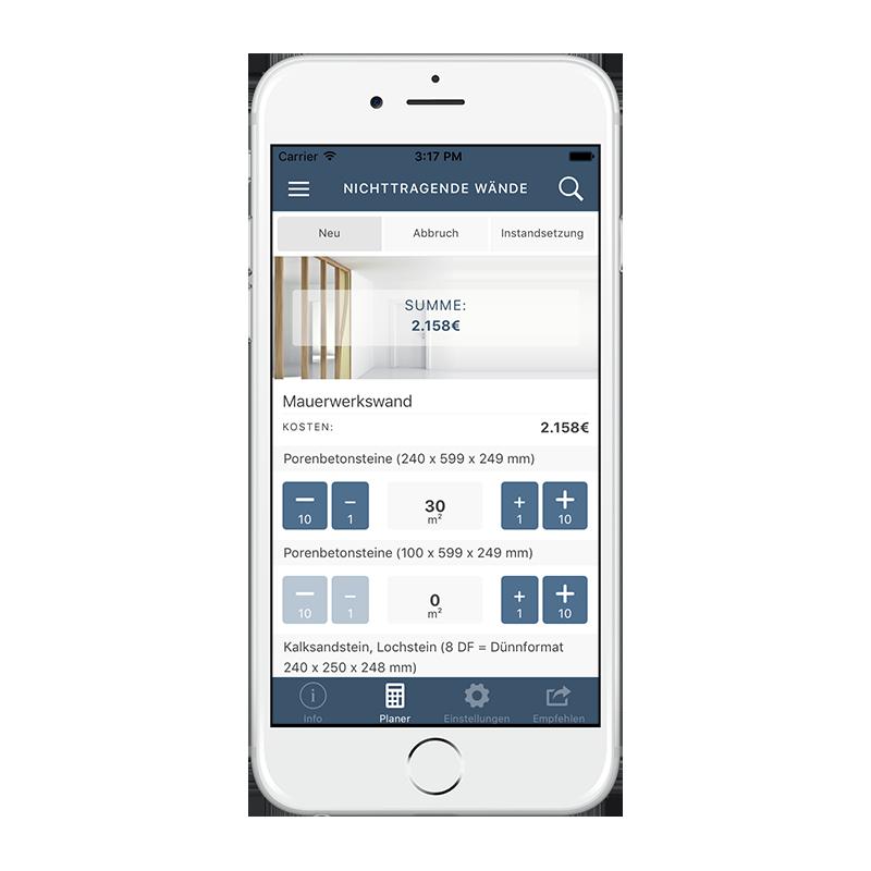 CORES App - Kalkulation