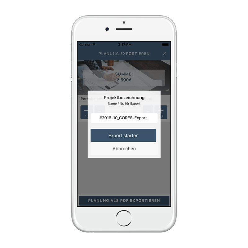 CORES App - Projektexport-Name