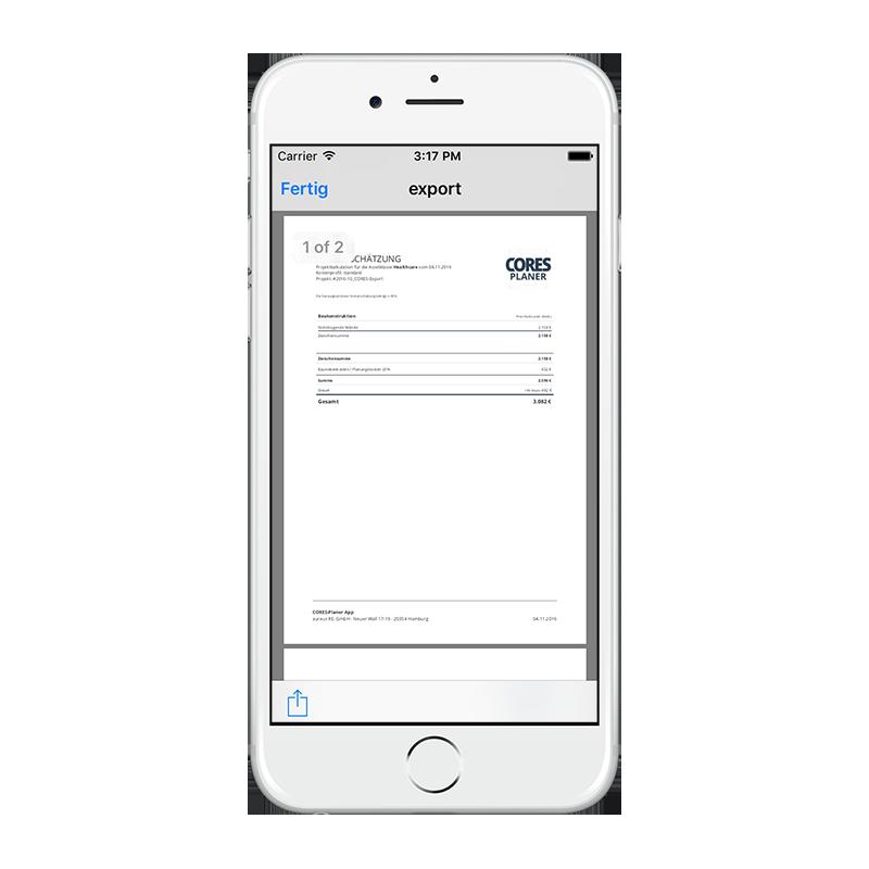 CORES App - Projektexport PDF