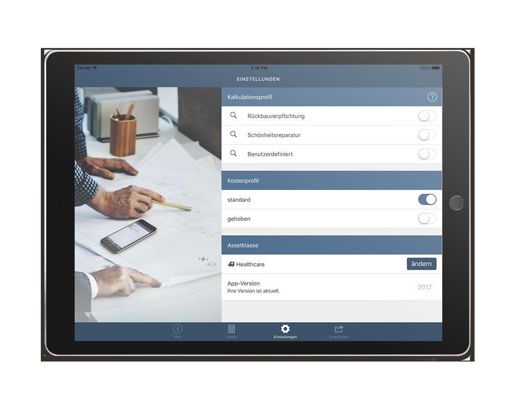 CORES Planer App – Einstellungen