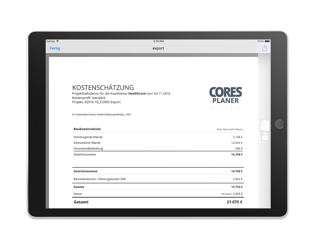 CORES Planer App – PDF-Export