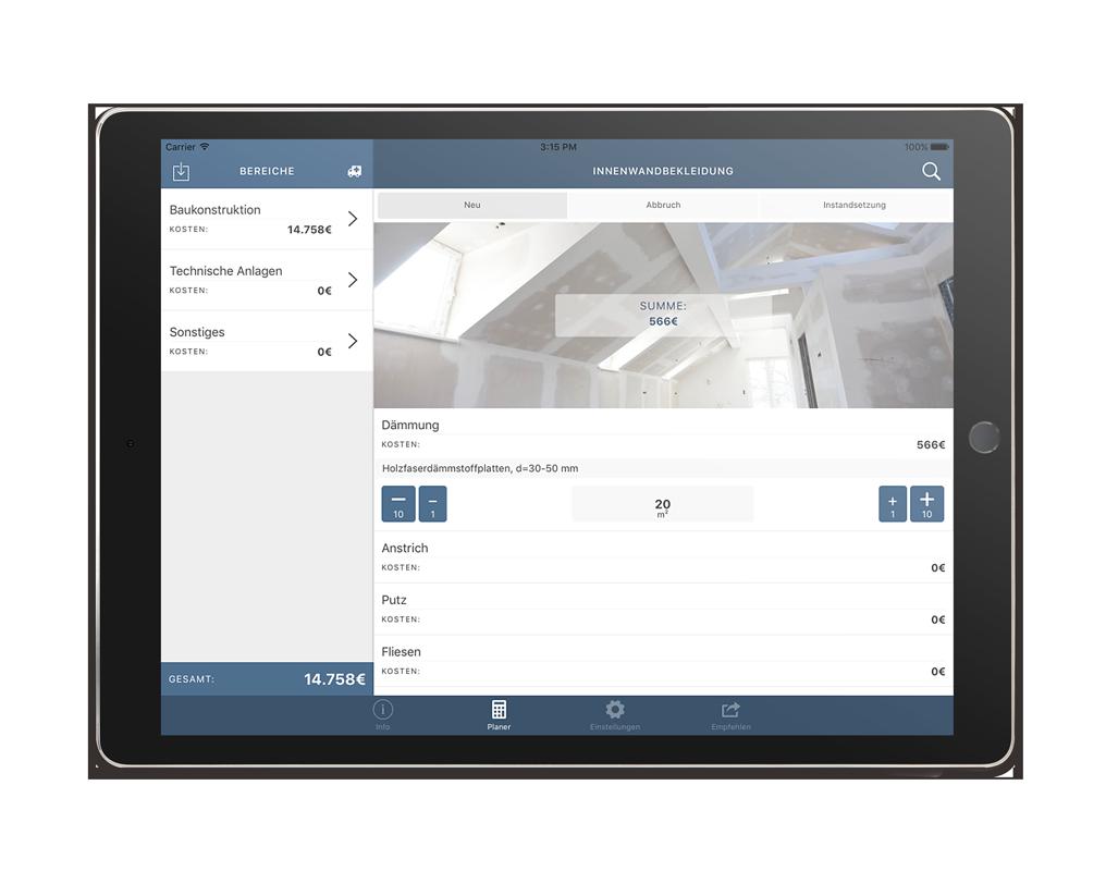 CORES Planer App – Kalkulation